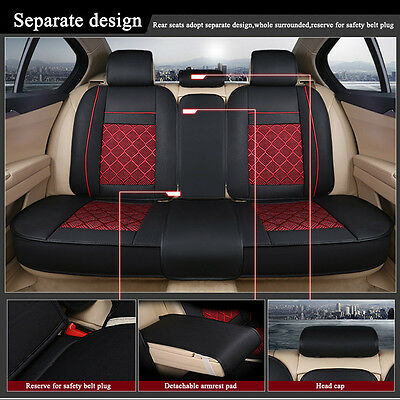 Black Red Car Seat Covers Pu Leather Front Rear Mess Cushion 5 Seats