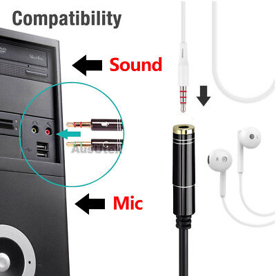 3.5mm Stereo Audio 2 Male to Female AUX Headphone Mic Y Splitter Cable Adapter