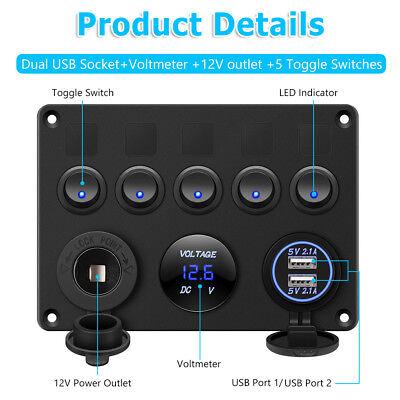 AU Switch Panel 12V USB ON-OFF Toggle 5 GANG Blue LED Rocker for Car Boat Marine 3