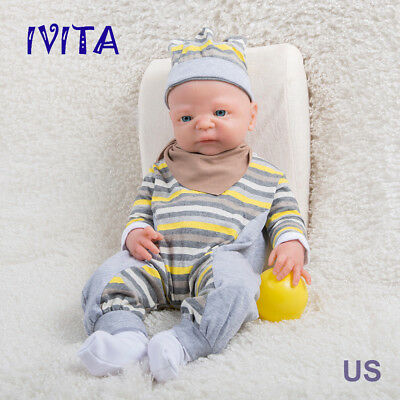 ----- IVITA 19/'/' Silicone And Cloth Reborn Baby GIRL Doll B34