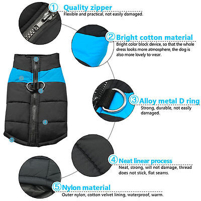 Waterproof Pet Dog Warm Padded Vest Coat Clothes Puppy Winter Jacket Apparel UK 10