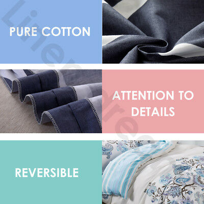 100% Pure Cotton Bedding 2019 New All Size Bed Doona Quilt Duvet Cover Set 4
