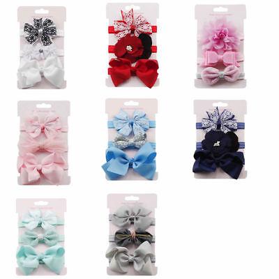 3pcs/Set Baby Girl Headband Ribbon Elastic Headdress Kids Hair Band Newborn Bow 5