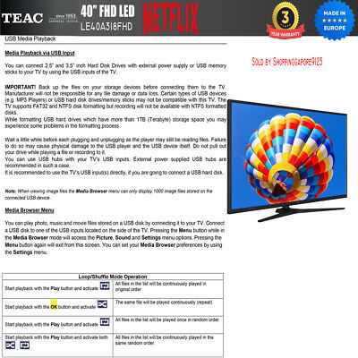 "TEAC 40"" Inch FHD SMART TV Netflix Youtube Freevie Made In Europe 3Year Warranty 8"