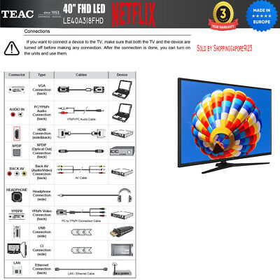 "TEAC 40"" Inch FHD SMART TV Netflix Youtube Freevie Made In Europe 3Year Warranty 6"