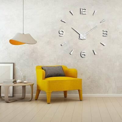 Modern DIY 3D Large Number Mirror Art Clock Wall Sticker Big Watch Home Decor UK 4