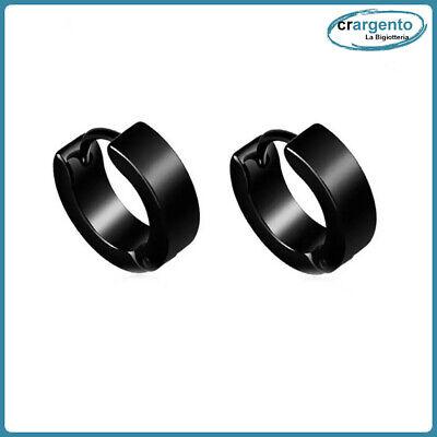 orecchini cerchio uomo acciaio inox cerchietti da in nero neri piccoli orecchino 2