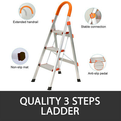 2 Or 3 Step Ladder Multi Purpose  Domestic Household Office Foldable Non Slip 7