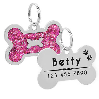 Glitter Personalized Dog Tags Free Engraved Cat Puppy Kitten ID Name Tag Whistle 8