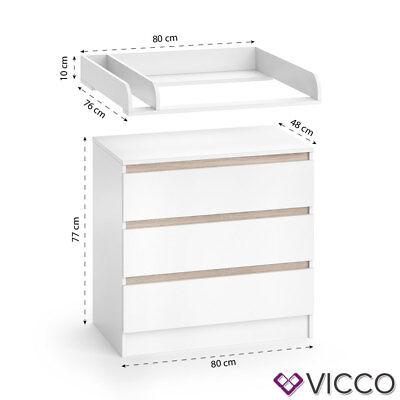 VICCO Wickelkommode Emma - Baby Wickeltisch Kommode mit 3 Schubladen Weiß Sonoma 11