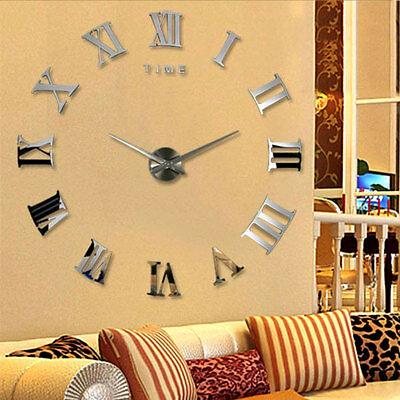 DIY 3D Large Wall Clock Roman Numeral Metallic Mirror Stick On Clock Home Decor 4