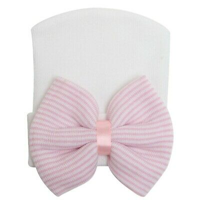 Baby Girl Infant Child Striped Soft Hat With Bow Cap Hospital Newborn Beanie Hat 11