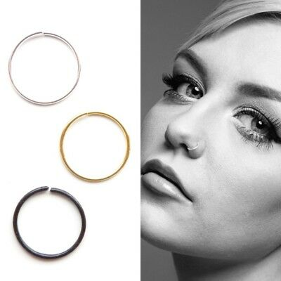 Unisex High Quality Thin Nose Ring Hoop Fake Body Piercing Jewellery Silver 5