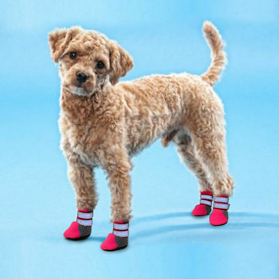 4pcs Dog Shoes Small Large Mesh Boots Booties for Snow Rain Reflective Anti-slip