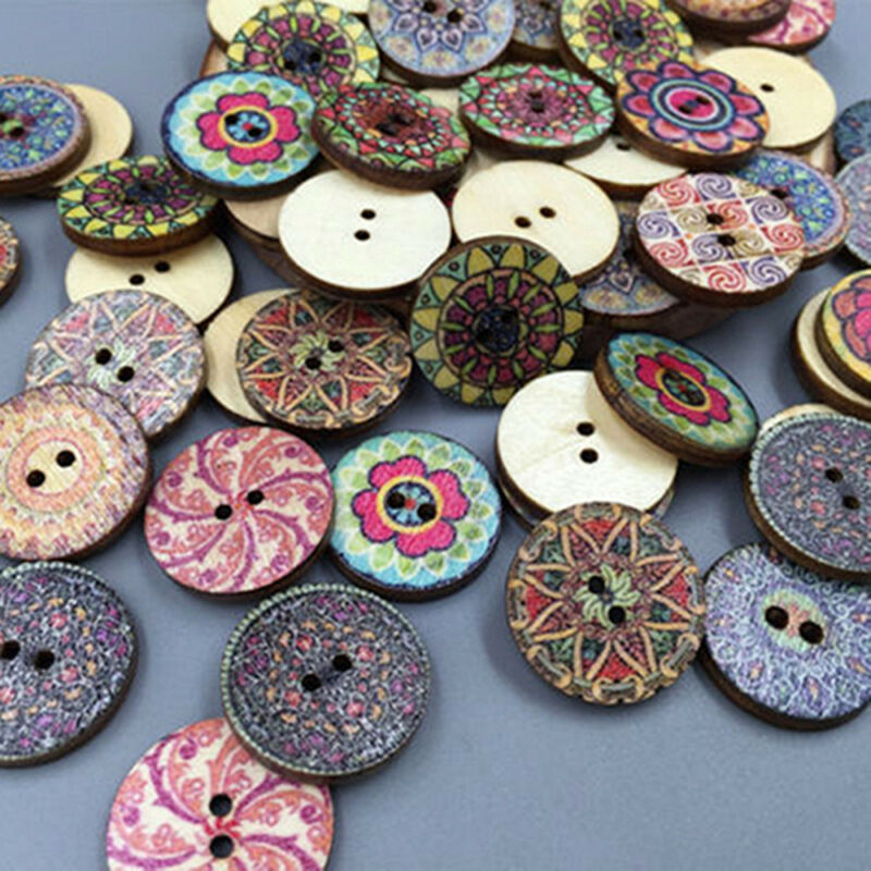 50Pcs/lot Flower Picture Wood Button 2 Holes Mixed Color Apparel Sewing DIY Gift 5