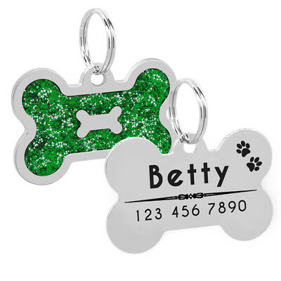 Glitter Personalized Dog Tags Free Engraved Cat Puppy Kitten ID Name Tag Whistle 4