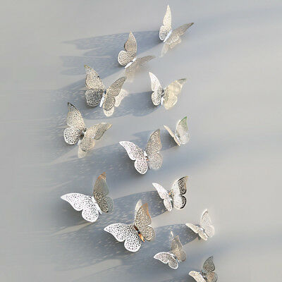 12 Pcs 3D Hollow Wall Stickers Butterfly Fridge For Home Decoration Stickers 5
