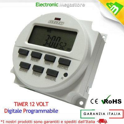 Timer Digitale Programmabile 12V 12 Volt Come Guida Din Caccia Nautica E Solare 3
