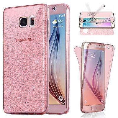 Housse Etui Coque Tpu Avant+Arriere 360° Bling Paillettes Pour Samsung Au Choix 2