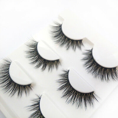 3 Pairs 100% Real 3D Mink Makeup Cross False Eyelashes Eye Lashes Handmade 7