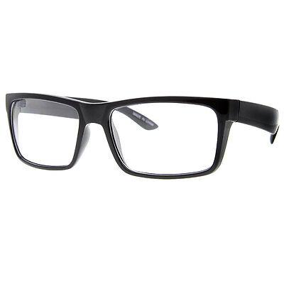 BLACK FRAME GLASSES Fashion Rectangle Fake Nerd Interview Smart ...