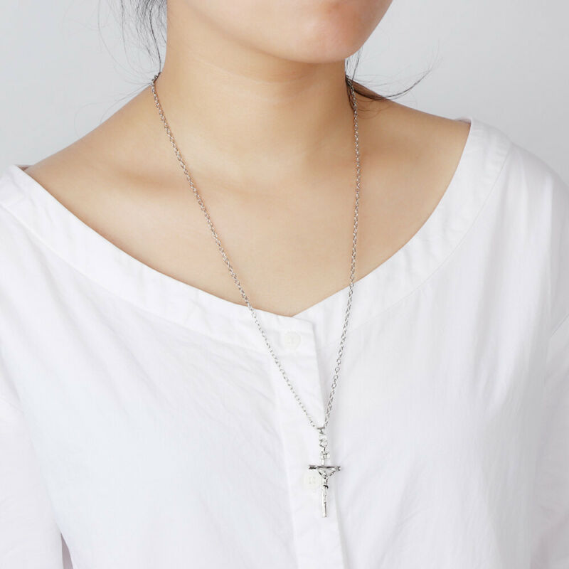 18K Gold Plated Women Men INRI Crucifix Jesus  Cross Pendant Necklace Chain 4
