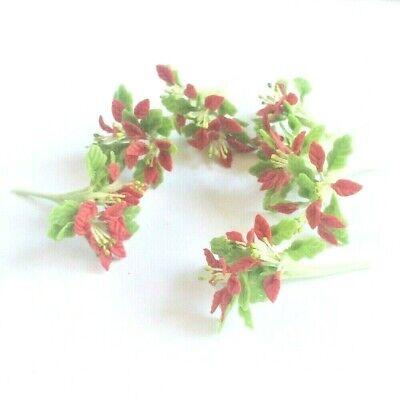 6 Clay Dollhouse Miniature Poinsettia Flowers,Christmas Plants,Christmas Decor 5