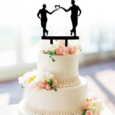 Same Sex Gay Wedding Cake Topper 2 Grooms Silhouette Design