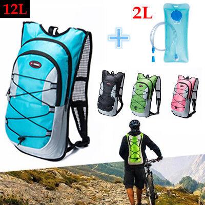 Hiking 12L/5L Bike Bicycle Hydration Pack Backpack Rucksack+2L Water Bladder Bag 5