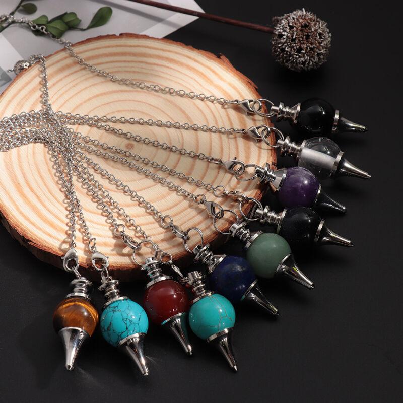 Balance Reiki Natural Stone Crystal Pendulum Circular Cone Charm Pendant~ 4