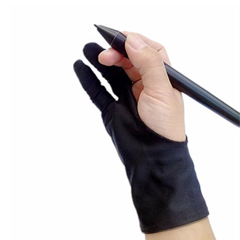 UGEE Freie Größe Zwei-Finger-Zeichnung Handschuh Antifouling Schwarz S4F3