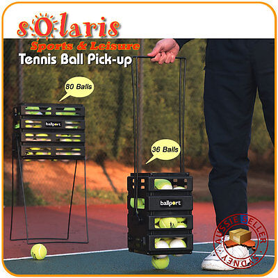 TOURNA BALLPORT 80 Balls Tennis Ball Pick Up Basket Hopper Dispenser Coach Aids