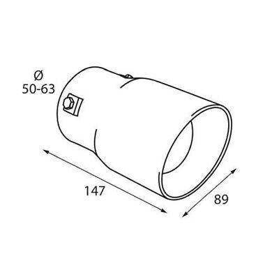 Auspuff Blende Endrohr 90 mm rund Edelstahl Sportauspuff Optik Absorber 50-63mm