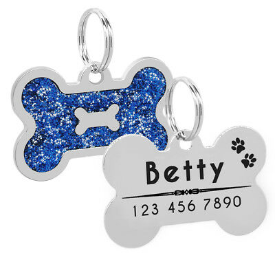 Glitter Personalized Dog Tags Free Engraved Cat Puppy Kitten ID Name Tag Whistle 7