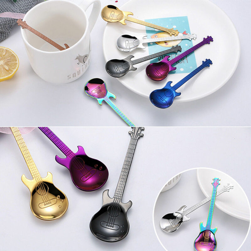 Stainless Steel Rainbow Guitar Shape Coffee Mixing Spoon Cold Drink Tea Kitchen