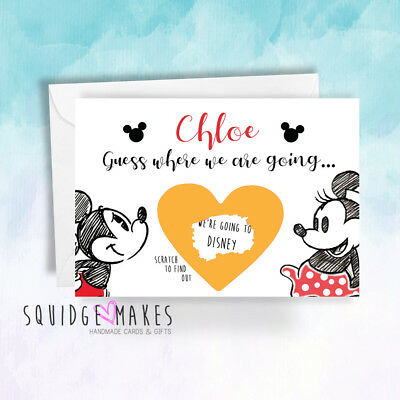Surprise we are going to Disney Scratchcard reveal Personalised micky minnie 3