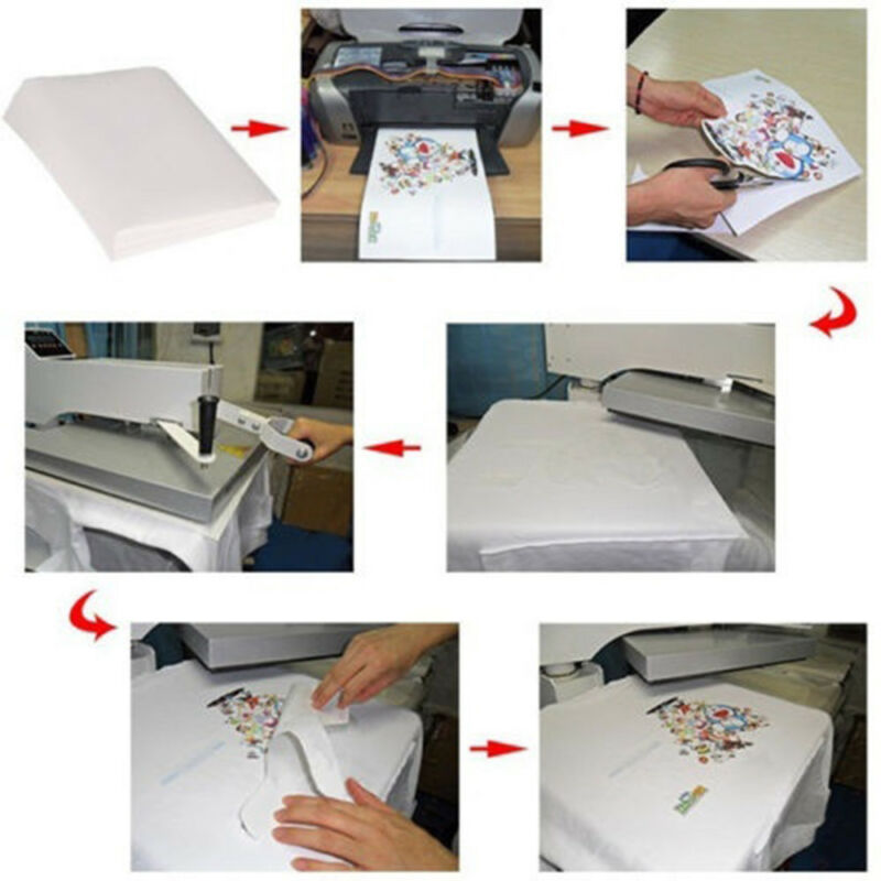 10Pcs A4 Iron On Print Heat Press Transfer Paper Light Fabric T-Shirt UK 6
