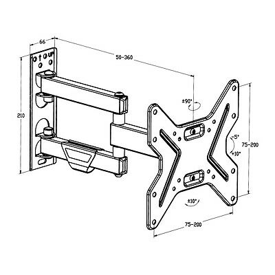 "Support mural tv muraux pivotant et inclinable orientable 26 32 42 "" 66-107cm 6"