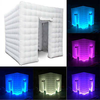 2.5M Inflatable LED Light Photo Booth Air Tent Wedding Party 2 Doors+RC+Fan USA 2