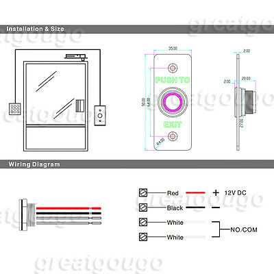 Waterproof Exit Push Button Release Switch For Access Control