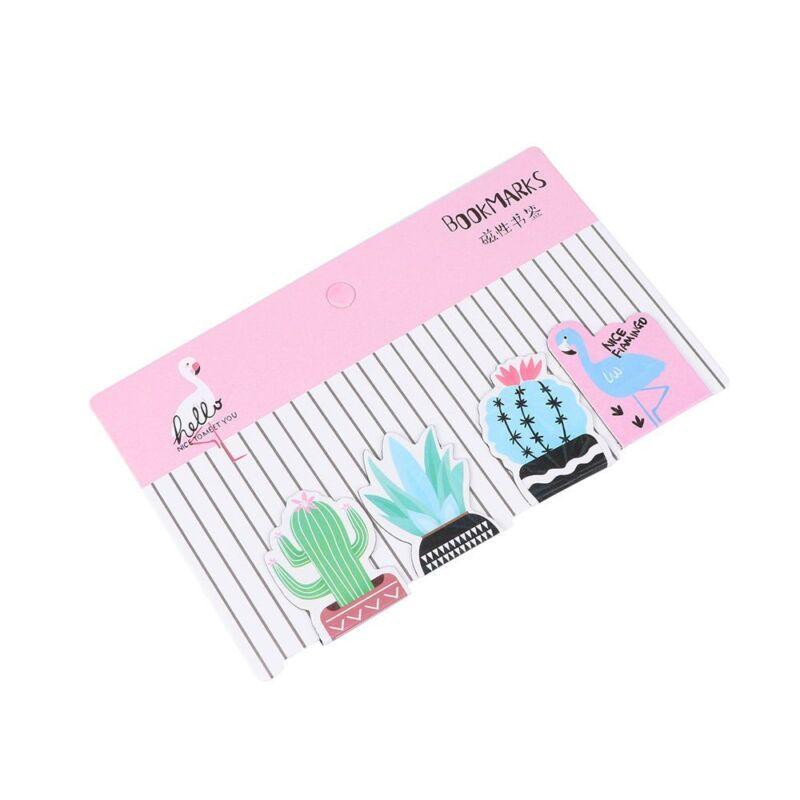 4PCs Cactus Plant Flamingo Magnet Bookmark Paper Clip School Office Supply 4