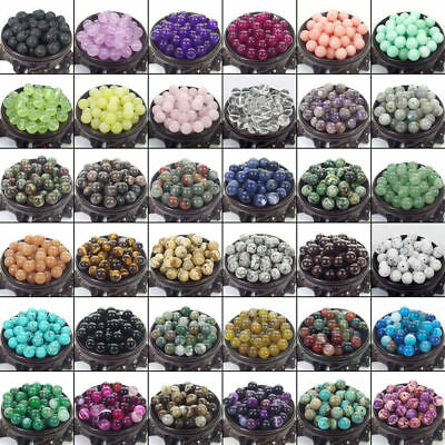 Natural Gemstone Round Spacer Loose Beads 4mm 6mm 8mm 10mm Assorted Stones DIY 2