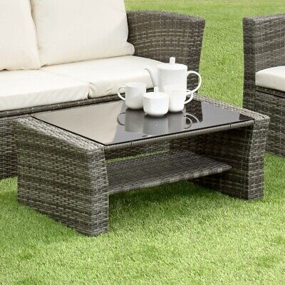 GSD Rattan Garden Furniture 4 Piece Patio Set Table Chairs Grey Black or Brown 7