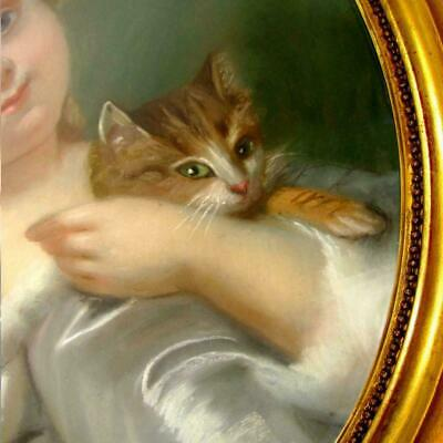 French Portrait of a Little Girl & Cat Pastel Painting Signed, Framed 6