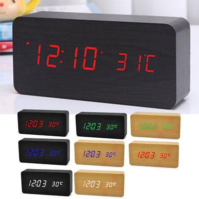 UK GIFT MODE Voice Control Calendar Thermometer Wooden LED Digital Alarm Clock