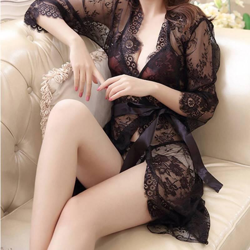 Woman Sexy Lace Sleepwear Nightwear Kimono Robe Nightwear Night robe Sleep Dress 4