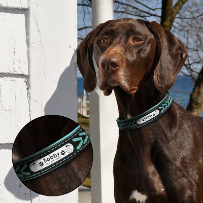 Collar de piel para perro grande suave Personalizable Collar grabado para perro 10
