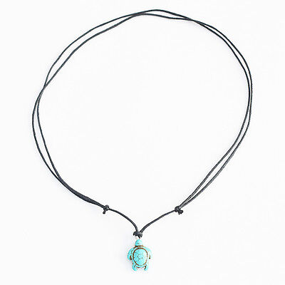 Turquoise Turtle Charm Pendant Choker Necklace with Black Cord 2