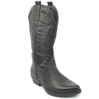 Stivali donna camperos texani pitonati stile western neri con fantasia laser su pelle tinta unita altezza polpaccio donna stivali Malu Shoes |