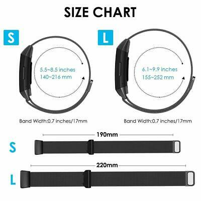 For Fitbit Charge 3 Replacement Silicone Metal Stainless Steel Band Sports (S-L) 3